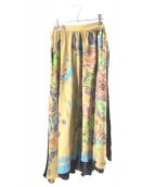 BASE MARK(ベースマーク)の古着「アシンメトリーロングスカート」|ベージュ×ネイビー