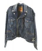 FACETASM×LEVIS(ファセッタズム×リーバイス)の古着「デニムライダースジャケット」|インディゴ
