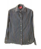 V.W. RED LABEL(ヴィヴィアンウエストウッドレッドレーベル)の古着「ストライプシャツ」|ブラウン