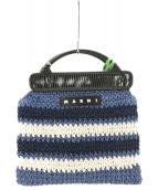 MARNI(マルニ)の古着「フラワーカフェクロシェバッグ」|ネイビー