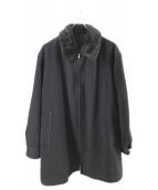 YS for men(ワイズフォーメン)の古着「襟ファーメルトンコート」 ネイビー