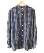 saby(サバイ)の古着「バンドカラーリネンチエックシャツ」 ネイビー