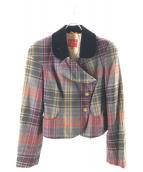 V.W. RED LABEL(ヴィヴィアンウエストウッドレッドレーベル)の古着「チェック柄デザインセットアップスーツ」|グレー×レッド