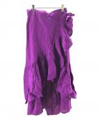 MYLAN(マイラン)の古着「リネンフリルラップスカート」|パープル