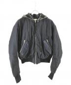 Acne(アクネ)の古着「レザーフードボンバージャケット」|ネイビー