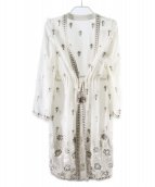 ()の古着「ジョーゼット刺繍ガウン」|ホワイト