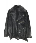 G.V.G.V(ジーヴイジーヴイ)の古着「FAUX FUR LACE UP BIKER JACKET」 ブラック