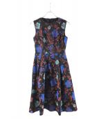 GRACE CONTINENTAL(グレースコンチネンタル)の古着「花柄刺繍ノースリーブワンピース」|ブラック