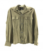 HAVERSACK(ハバーサック)の古着「オープンカラーシルクシャツ」 カーキ