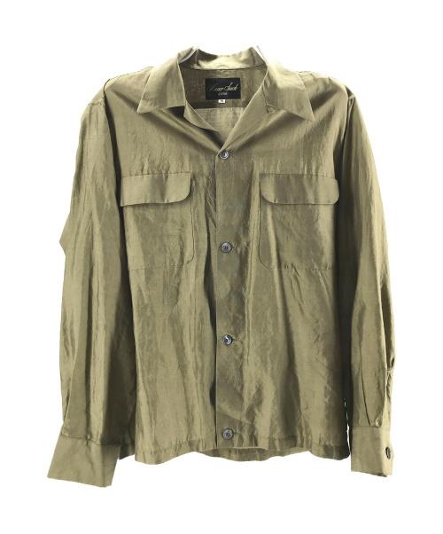 HAVERSACK(ハバーサック)HAVERSACK (ハバーサック) オープンカラーシルクシャツ カーキ サイズ:Mの古着・服飾アイテム