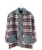 DIESEL(ディーゼル)の古着「チェック切替デニムジャケット」 ブルー×パープル