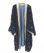 kei shirahata(ケイシラハタ)の古着「シルク混ベルベットガウンコート」 ネイビー
