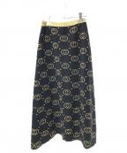 GUCCI(グッチ)の古着「インターロッキングGG ウールラメロングスカート」|ブラック