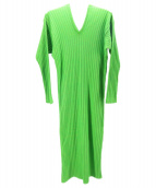 beautiful people(ビューティフルピープル)の古着「totan rib oiran-neck dress」|グリーン