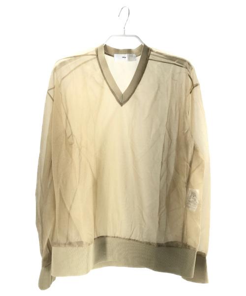 TOGA VIRILIS(トーガヴィリリース)TOGA VIRILIS (トーガ ヴィリリース) SHINY JERSEY V-NECK PULLOVER ベージュ サイズ:44 ユニセックスの古着・服飾アイテム