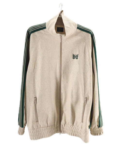 Needles(ニードルス)Needles (ニードルス) パイソンエコレザートラックジャケット ベージュ×グリーン サイズ:L 20SS即完売アイテム Track Jacket - Synthetic Leatherの古着・服飾アイテム
