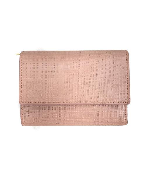 LOEWE(ロエベ)LOEWE (ロエベ) LINEN 3つ折りウォレット ピンクの古着・服飾アイテム