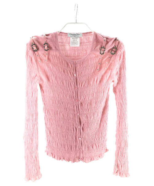 Christian Dior(クリスチャンディオール)Christian Dior (クリスチャンディオール) ベルトデザインカーディガン ピンク サイズ:USA8の古着・服飾アイテム