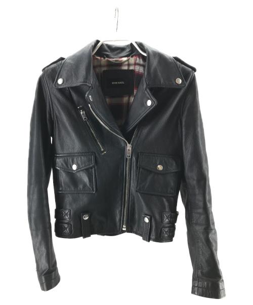 DIESEL(ディーゼル)DIESEL (ディーゼル) ゴートレザーダブルライダースジャケット ブラック サイズ:XSの古着・服飾アイテム
