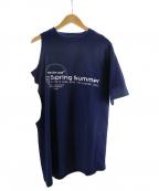 MARTINE ROSE(マーティン ローズ)の古着「アシンメトリープリントTシャツ」 ネイビー