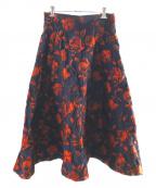 STRAWBERRY FIELDS(ストロベリーフィールズ)の古着「ローズジャガードスカート」|ネイビー