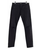 UNDERCOVER(アンダーカバー)の古着「ウエストZIPヒザヤブレストレッチパンツ」|ブラック