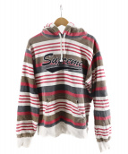()の古着「Stripe Hooded Sweatshirt」|レッド