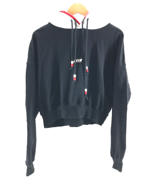 MSGM(エムエスジーエム)MSGM (エムエスジーエム) LOGO PULL OVER ブラック×ホワイト サイズ:XSの古着・服飾アイテム