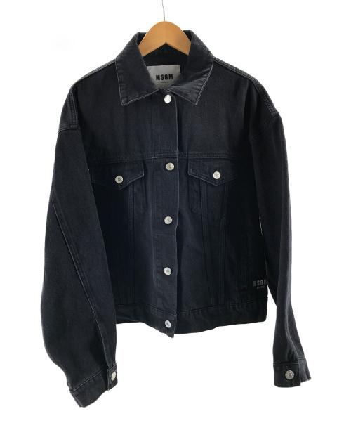 MSGM(エムエスジーエム)MSGM (エムエスジーエム) キャットプリントデニムジャケット グレー サイズ:40の古着・服飾アイテム