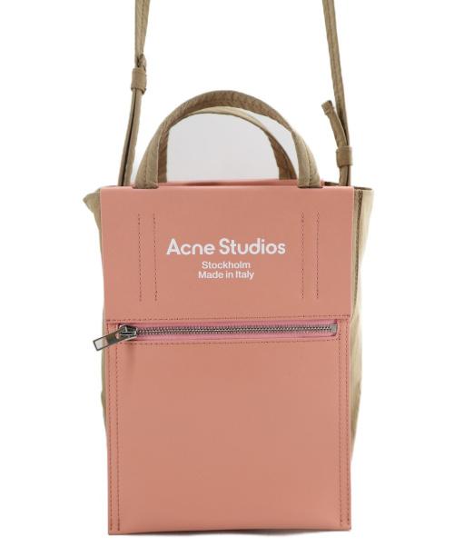 Acne studios(アクネストゥディオズ)Acne studios (アクネストゥディオズ) Baker Out 2WAYミニバッグ ベージュ×ピンクの古着・服飾アイテム