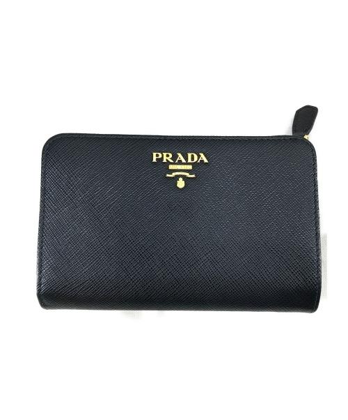 PRADA(プラダ)PRADA (プラダ) サフィアーノL字ファスナーウォレット ブラック 製造番号224の古着・服飾アイテム