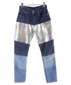 MINEDENIM(マインデニム)の古着「箔プリントデニム」|ブルー