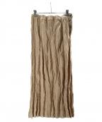 ISSEY MIYAKE FETE(イッセイミヤケフェット)の古着「スウェードタッチプリーツスカート」 ベージュ
