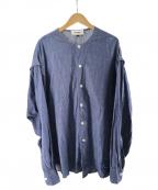 Hed Mayner(ヘド メイナー)の古着「オーバーサイズノーカラーシャツ」|インディゴ
