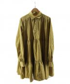 eimy istoire(エイミーイストワール)の古着「ボリュームティアードミニワンピース」|イエロー