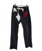 FACETASM(ファセッタズム)の古着「RUGBY MIX RIB SWEAT PANTS」 ブラック