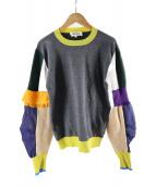 ENFOLD(エンフォルド)の古着「カラーブロックセーター」|グレー