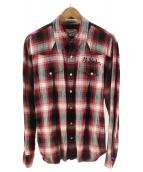 ()の古着「チェックウエスタンシャツ」 レッド×ブラック