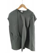 ()の古着「シルク混フロントデザインブラウス」|オリーブ