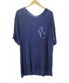 YohjiYamamoto pour homme(ヨウジヤマモトプールオム)の古着「製品染めプリントカットソー」 ブルー