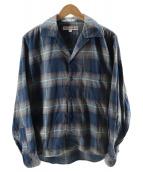 ()の古着「オープンカラーチェックネルシャツ」 グレー×ブルー