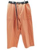 sacai(サカイ)の古着「ガンクラブチェックワイドパンツ」|オレンジ
