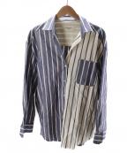 WEEKEND Max Mara(ウィークエンド マックスマーラ)の古着「スキッパー切替ストライプシャツ」|ブルー×ホワイト