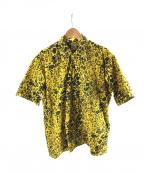 gold(ゴールド)の古着「タイル レオパードスラブオープンカラーシャツ」|イエロー
