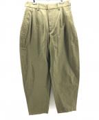 LOEFF(ロエフ)の古着「リップクロスボンタンパンツ」 オリーブ