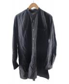 ()の古着「コットンネル バンドカラーシャツ」|チャコールグレー