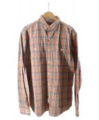 ()の古着「ヘビーコットンチェックシャツ」 オレンジ