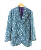 USED(ユーズド)の古着「総柄2Bジャケット」|ブルー