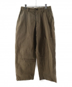 UNIVERSAL PRODUCTS.(ユニバーサルプロダクツ)の古着「NO TUCK WIDE CHINO TROUSERS」 ブラウン