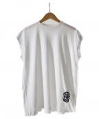 BLAMINK(ブラミンク)の古着「ロゴ刺繍ノースリーブカットソー」|ホワイト